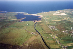 Glen Mòr and Loch Mòr Bharabhais with Brue village (far left) and Barvas to the centre and right. Barvas machair can be seen (top right)
