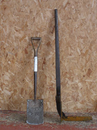 A sharp spade and peat iron are the essential tools of the job